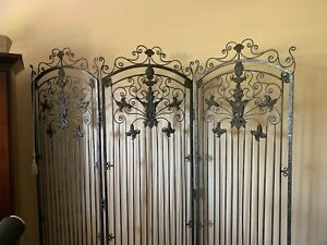 THEODORE ALEXANDER 3 Panel Wrought Iron Room Divider Screen Excellent Condition