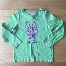 Mini Boden Girls Top Embroidered Rabbit Green Easter Spring 1.5-2 Years