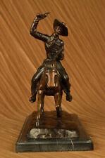 Art Deco American Artist Russell Cowboy Riding on Horse Bronze Sculpture Figure