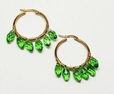 Green Hoop Earrings Small Hoop Dainty Dangle Earrings Beaded Fashion Bohemian