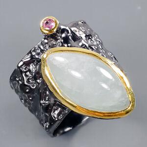 gemstone jewelry Aquamarine Ring Silver 925 Sterling  Size 8 /R171050