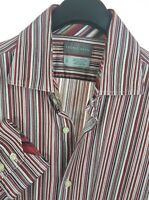 THOMAS DEAN Mens Red Striped LS Flip Cuff Button-Down Shirt Large L Cotton