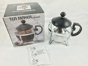 Pyrex Tea Maker Infuser Glass with Stainless Steel 700mL Chrome Teapot