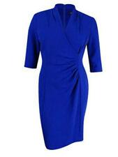 Tahari by ASL Women's Side Ruche Crepe Sheath Dress Blue Size 14 (Missing Tag)