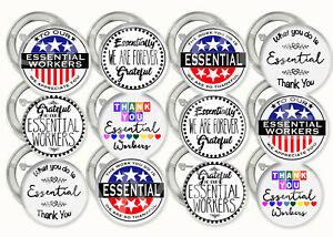 """Essential Workers Thank You Buttons Pins 2.25"""" Metal Pin-back, 12 pcs Grateful"""