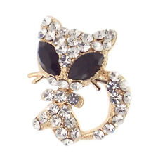 Kitty Kitten Cat Big Eyes Pin Brooch Rhinestone Black Clear 18k GP Jewelry Gift