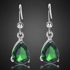 Fashion Gift Pear Cut Green Emerald White Gold Plated Dangle Drop Earrings