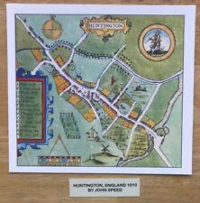 Antique Tudor colour town plan, map HUNTINGTON, England: Speed 1600s Reprint