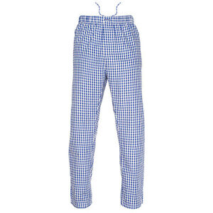 Ritzy Men/Kids/Boys Pajama Pants 100% Cotton Plaid Woven Poplin - BL & WH Checks