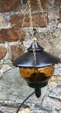 vintage Hanging porch light with amber glass