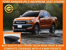 FORD RANGER PX2 FRONT & REAR NEOPRENE SEAT COVERS FULL COVERAGE- MAP POCKETS X 4