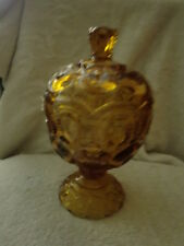L E Smith Moon & Stars Amber Color Glass Compote Dish/Jar With Lid