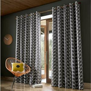 ORLA KIELY LEAF STEM CHARCOAL CREAM RING TOP CURTAINS DRAPES - 10 SIZES