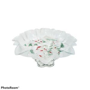 Mikasa Glass Holiday Christmas Landscape Footed Candy Bon Bon Dish Germany