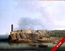 MORRO CASTLE FORT HAVANA CUBA SPANISH HISTORY PAINTING ART REAL CANVAS PRINT