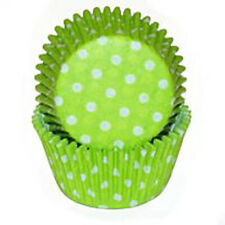 Lime Polka Dot Cupcake Cases or Baking Cups - 50 Pack / Easter or Halloween