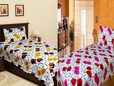 Homefab India Combo Of 2 Cotton Single Bed Sheet with 2 Pillow Covers (Combo649)