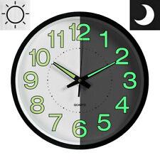 "12"" Wall Clock LED Energy Night Dark Luminous Glow Modern Quartz Bedroom Watch"