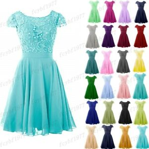 New Short Bridesmaid Formal Gown Ball Party Evening Prom Dress Size 6-26