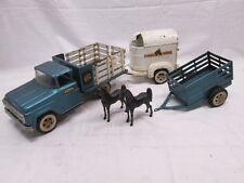 50s Tonka Toys Tonka Farms Stake Truck, Horse Trailer, Horses, Trailer Complete