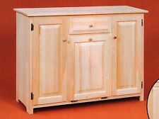 AMISH Unfinished Solid Pine ~ Rustic Kitchen Helper Storage Cabinet w/ TRASHCAN