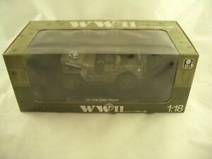 Welly WWII Model 1/4 Ton Army Truck Jeep 1/18