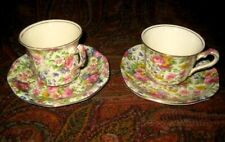 2 VINTAGE ROYAL WINTON CHINTZ CUPS AND SAUCERS SUMMERTIME PATTERN