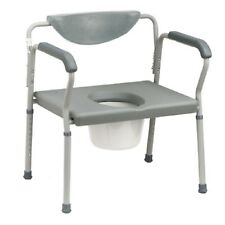 MCKDS Bariatric Commode Chair Fixed Arm Steel Frame Padded Back 15 to 22 Inch