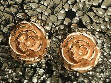 JBK Signed USA Gold Tone Large Rose Statement Converted Pierced Earrings