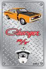Pop A Top Wall Mount Bottle Opener Metal Sign - Hemi RT Charger - Orange