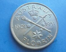 Australia, 1951 Florin, (Silver) Excellent Condition.