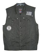 New listing Men's Wt02 Patriotic Flag Print Black White Button Down Cotton Vest Medium