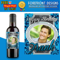 Personalised Photo Wine Bottle Label, Perfect Birthday Gift 18th, 21st, 30th,