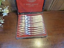 "VGC BOXED CHRISTOFLE ""RUBANS"" silver plated SET 12 SEA FOOD/CAKE FORKS"