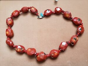 "Hand- Made GENUINE * CORAL * NECKLACE 20"" Long,STERLING SILVER LOCK -Made in USA"