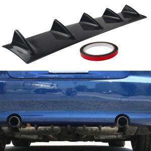 Car ABS Plastic Lower Rear Body Bumper Diffuser Shark 5 Fin Spoiler Gloss Black