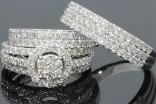 10K WHITE GOLD 2.40 CT MEN WOMEN DIAMOND TRIO ENGAGEMENT WEDDING RING BAND SET