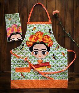 Frida Kahlo Two pocket apron W/ Dish Rag