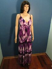 Plus Size 3x purple TIE DYE PRINT ELASTIC WAIST MAXI dress by MAGIC