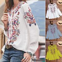 Belle  Femme Imprimé Floral Manche Longue Casuel Loisir Tops Haut Shirt Plus