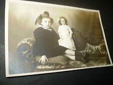 social history edwardian girl with beautiful china doll  rp photo postcard
