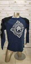 American Fighter Men's 's Long Sleeve Shirt BLack/Blue/White 2XL NWOT