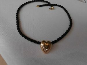 Kette oder Armband mit Anhänger, 750 Gold , Gelbgold, Herz, Textil Band 40 cm