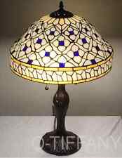 "Tiffany Style Stained Glass Lamp ""Quatrefoil"" w/ Metal Base - Free Ship In Usa"