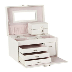 Large Jewellery Storage Box Display Organiser Rings Necklace Earring Travel Case