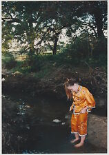 Found PHOTO Young Little Girl In Kimono Pajamas Outfit In Nature