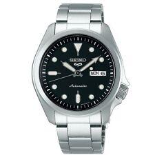 Seiko 5 Sports Black Dial Silver Steel Bracelet Men's Watch SRPE55K1 RRP £230