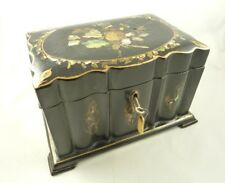 ANTIQUE PAPIER MACHE TEA CADDY BOX MOTHER OF PEARL ABALONE INLAY C 1850
