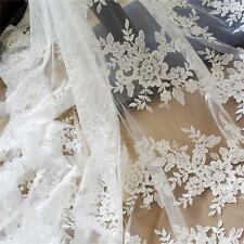 Broderie Fil Robe de Mariée Tissu Dentelle Ivoire Floraison Mariage Robe Tulle 1