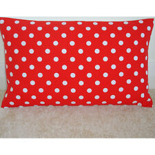 "20""x12"" Oblong Bolster Cushion Cover 20x12 Bright Red And White Polka Dots 12x20"